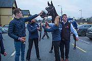 19th March 2016, Gordon Elliott trained Don Cossack homecoming to Summerhill<br /> Jockey Bryan Cooper soothes Don Cossack during his homecoming at Summerhill with Gordon Elliott<br /> Photo: David Mullen /www.cyberimages.net / 2016