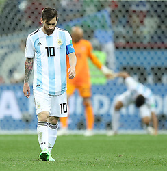 NIZHNY NOVGOROD, June 21, 2018  Lionel Messi of Argentina reacts during the 2018 FIFA World Cup Group D match between Argentina and Croatia in Nizhny Novgorod, Russia, June 21, 2018. Croatia won 3-0. (Credit Image: © Wu Zhuang/Xinhua via ZUMA Wire)