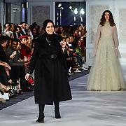 Designer Najwa Alfadli showcases it latest collection at Stories From Arabia Fashion Show AW19, London, UK. 16 Feb 2019.