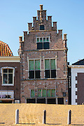 Traditional architecture lopsided ancient building of theTown Hall and Museum, Edam, The Netherlands