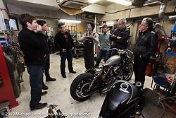 Harley-Davidson design team members visit Hide Motorcycles shop. (L>R) Charlie Wartgow, Ben McGinley, Dais Nagao, Hide (Hideya Togashi), Hide's assistant, Stuart Farrell (head of HD Japan) and HD head of design Ray Drea. Kawasaki, Japan. Tuesday, December 9, 2014. Photograph ©2014 Michael Lichter.