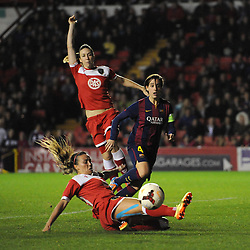 Bristol Academy Womens' Natasha Harding misses the ball in the box - Photo mandatory by-line: Dougie Allward/JMP - Mobile: 07966 386802 - 13/11/2014 - SPORT - Football - Bristol - Ashton Gate - Bristol Academy Womens FC v FC Barcelona - Women's Champions League