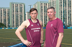 April 2, 2018 - Hong Kong, Hong Kong SAR, CHINA - HONG KONG,HONG KONG SAR,CHINA:April 2nd 2018. The Irish rugby team conduct a training session at Kings Park ahead of their Hong Kong Rugby 7's qualifiers. L. Captain Billy Tardis with Anthony Eddy, IRFU Director of Sevens Rugby. (Credit Image: © Jayne Russell via ZUMA Wire)