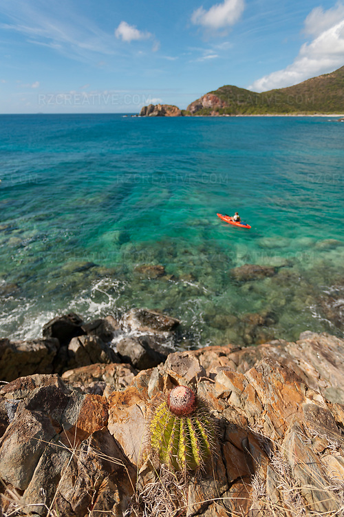 Mark Anders paddling a kayak in Little Lameshur Bay, St. John, USVI. Photo © Robert Zaleski / rzcreative.com<br /> —<br /> To license this image for editorial or commercial use, please contact Robert@rzcreative.com