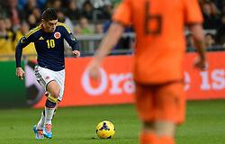 19-11-2013 VOETBAL: NEDERLAND - COLOMBIA: AMSTERDAM<br /> Nederland speelt met 0-0 gelijk tegen Colombia / James Rodriguez <br /> ©2013-FotoHoogendoorn.nl
