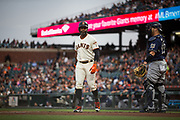 San Francisco Giants center fielder Denard Span (2) walks off the field after striking out against the Milwaukee Brewers at AT&T Park in San Francisco, California, on August 21, 2017. (Stan Olszewski/Special to S.F. Examiner)
