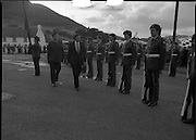 """The Carlingford Oyster Festival.1982.19.08.1982..08.19.1982.19th August 1982..Pictures and Images of the Carlingford Oyster Festival...The Minister For Fisheries and Forestry Mr Brendan Daly officially opened  The Carlingford Oyster Festival. The Chairman of the organising committee was Mr. Joe McKevitt..""""The Oyster Pearl"""" was Ms Deirdre McGrath..""""A"""" company,8th Batt.,Dundalk F.C.A.form a guard of honour..The Minister Inspects the troops accompanied by Lieut. Oliver Nixon"""