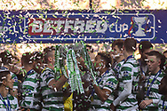 Scott Brown and Scott Sinclair hold the cup after winning the Betfred Cup Final between Celtic and Aberdeen at Hampden Park, Glasgow, United Kingdom on 2 December 2018.