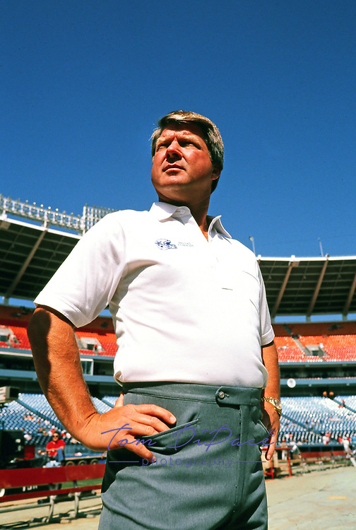 Dallas Cowboys head coach Jimmy Johnson watches from the sidelines during a game against the Atlanta Falcons at Atlanta Fulton County Stadium in  Atlanta, Ga.<br /> (Tom DiPace )