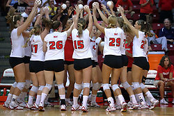28 September 2008: The Redbirds cheer as Erin Lindsey (4) is announced. The Braves took the first set, but the Illinois State Redbirds grabbed 3 sets in a row to win the match 3 sets to 1. The Bradley Braves visited the Illinois State Redbirds at Redbird Arena on the campus of Illinois State University in Normal Illinois.