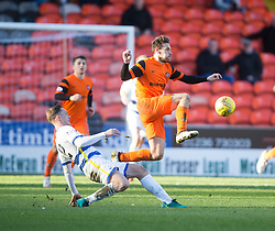 Morton's Michael Tidser and Dundee United's Thomas Mikkelsen. Dundee United 1 v 1 Morton, Scottish Championship game played 25/2/2017 at Tannadice Park.