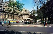 Buses in square next to cathedral in Seville, Spain,  1976