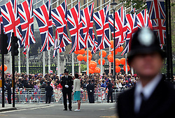 29 April 2011. London, England..Royal wedding day. Heavy police presence surrounds  Westminster Abbey..Photo; Charlie Varley.