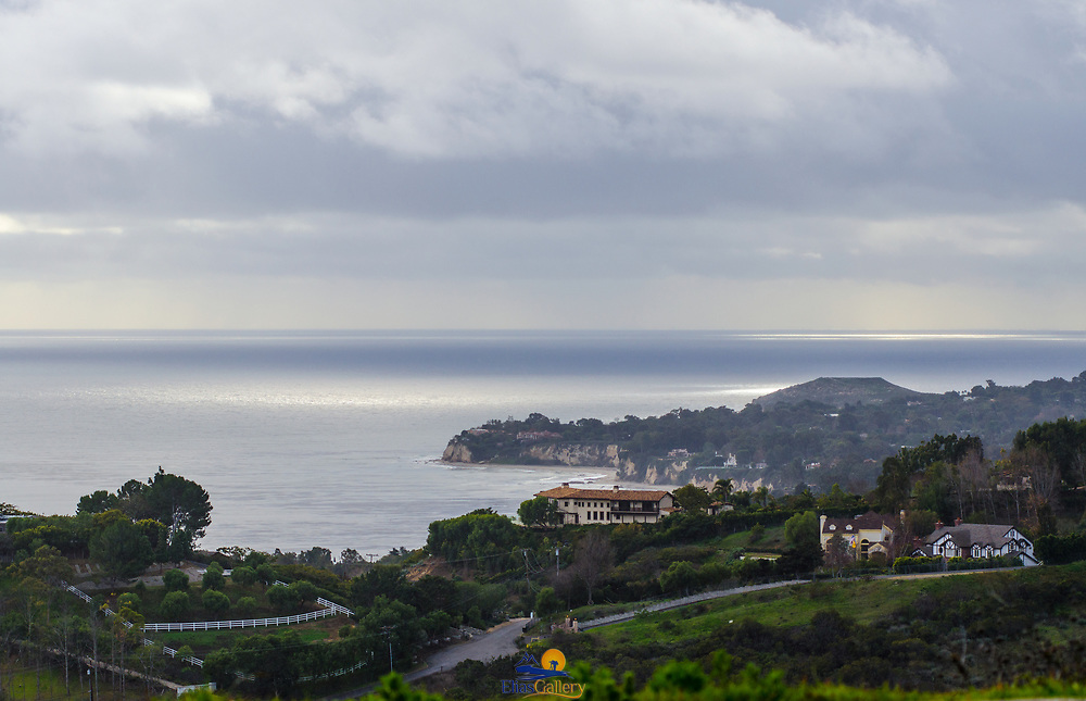 Malibu view with storm over the ocean.