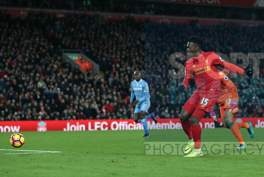 Liverpool's Daniel Sturridge scoring his sides fourth goal during the Premier League match at Anfield Stadium, Liverpool. Picture date December 27th, 2016 Pic David Klein/Sportimage