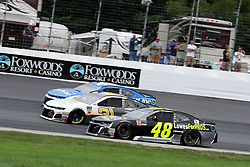 July 22, 2018 - Loudon, NH, U.S. - LOUDON, NH - JULY 22: (48) Jimmie Johnson, (31) Ryan Newman, and (42) Kyle Larson go three wide in turn 4 during the Monster Energy Cup Series Foxwoods Resort Casino 301 race on July, 21, 2018, at New Hampshire Motor Speedway in Loudon, NH. (Photo by Malcolm Hope/Icon Sportswire) (Credit Image: © Malcolm Hope/Icon SMI via ZUMA Press)