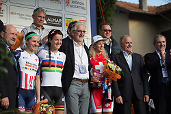 Megan Guarnier, Lizzie Armitstead (both Boels-Dolmans Cycling Team) and Jolanda Neff (Servetto-Footon) celebrate on the top of the podium with UCI President Brian Cookson, UCI Management Comitte member Renato de Rocco and local VIPs after the Trofeo Alfredo Binda - a 123.3km road race from Gavirate to Cittiglio on March 20, 2016 in Varese, Italy.