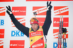 Winner Christoph Sumann of Austria at flower ceremony after the Men 20 km Individual of e.on Ruhrgas IBU World Cup Biathlon Pokljuka, on December 17, 2009, in Pokljuka, Slovenia. (Photo by Vid Ponikvar / Sportida)