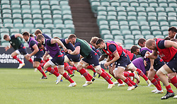 British & Irish Lions warm up during the training session at the QBE Stadium, Auckland.