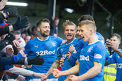 Rangers Jason Cummings (centre) celebrates scoring his side's first goal of the game during the William Hill Scottish Cup, fifth round match at Somerset Park, Ayr.