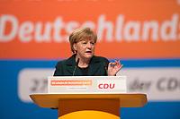09 DEC 2014, KOELN/GERMANY:<br /> Angela Merkel, CDU, Bundeskanzlerin, haelt ihre Rede als Parteivorsitzende der CDU, CDU Bundesparteitag, Messe Koeln<br /> IMAGE: 20141209-01-027<br /> KEYWORDS: Party Congress