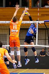 20141228 BEL: Beker, Knack Roeselare - Volley BeHappy2 Asse - Lennik: Roeselare<br /> Het blokpunt waarmee Volley Behappy2 Asse - Lennik zich plaatst voor de finale van de Belgische Beker<br /> ©2014-FotoHoogendoorn.nl / Pim Waslander