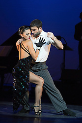 "© Licensed to London News Pictures. 30/01/2013. London, England. Scene ""A Los Amigos"" danced by German Cornejo and Gisela Galeassi. The show ""FLAMES OF DESIRE"" by the Argentine dance company ""TANGO FIRE"" opens at the Peacock Theatre, London for a run to 24 February 2013. Photo credit: Bettina Strenske/LNP"