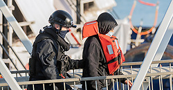 © Licensed to London News Pictures. 14/10/2021. DOVER, UK. Migrants arriving at Dover docks again today whilst weather conditions are still good, the sea is calm and before the weather changes for winter. Photo credit: Stuart Brock/LNP