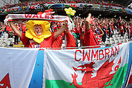 Wales fans look on. Euro 2016, group B , England v Wales at Stade Bollaert -Delelis  in Lens, France on Thursday 16th June 2016, pic by  Andrew Orchard, Andrew Orchard sports photography.