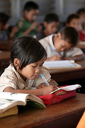 Nang Kip 7 years old in a school where AusAid has funded training for minority group teachers, Ban Dakduang, Dakcheung, near Sekong, Lao PDR