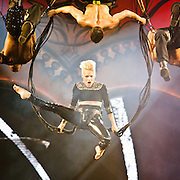 "WASHINGTON, DC - March 14th, 2013 -  Pink performs at the Verizon Center in Washington, D.C. as part of her ""Truth About Love"" tour. She began the show with an acrobatic display during ""Raise My Glass,"" using bungee cords to twist and flip high above the capacity crowd.  (Photo by Kyle Gustafson/For The Washington Post)"