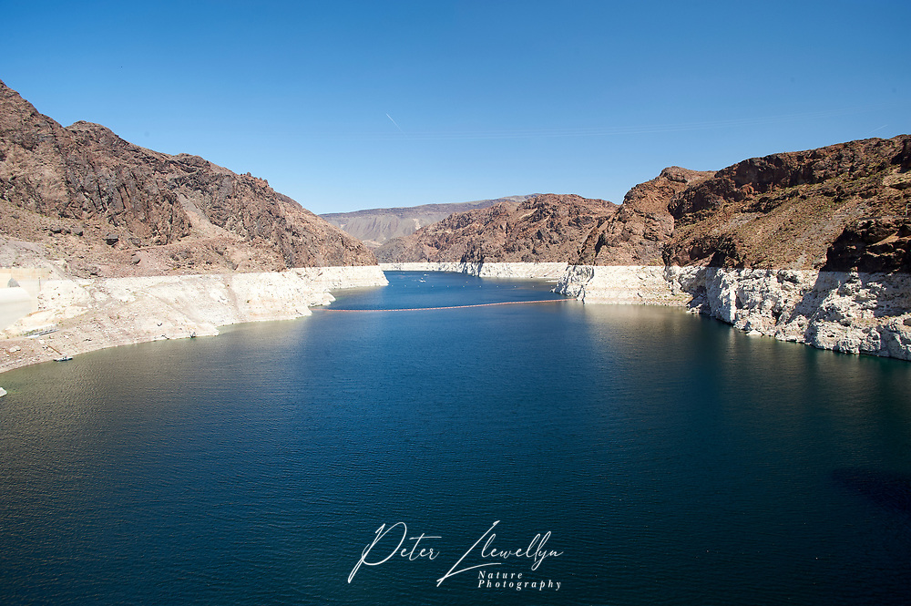 Shot up lake Mead showingthe very low water levels and previous level - , Hoover Dam , Nevada, USA