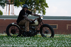 Billy Lane riding one of his Harley-Davidson Flathead bobbers near his new Columbia, TN shop after the move from Florida. Monday, May 24, 2021. Photography ©2021 Michael Lichter.