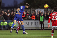 AFC Wimbledon midfielder Anthony Wordsworth (40) with a header on goal during the EFL Sky Bet League 1 match between AFC Wimbledon and Barnsley at the Cherry Red Records Stadium, Kingston, England on 19 January 2019.