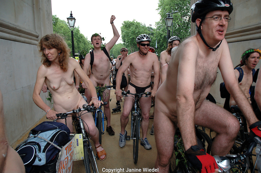 Naked cyclists rode through central London to protest against oil dependency and consumption and pro naturism 11 June 2005 50 cities joined the worlds largest naked protest to celebrate the power and individuality of our bodies!