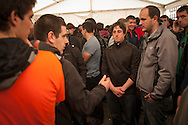 "Igor Lorente (black jacket) and Aitor Olaizola (grey jacket), 2 of the 8 young persons who have been sentenced to six years in jail. They have been sentenced for having been members of the Basque pro-independence youth organization SEGI ('Keep on' in basque language). Donostia-San Sebastian (Basque Country) April, 16th 2013. As an arrest warrant was issued against them and they could be arrested any time, young supporters gathered them to prevent them from being arrested. The sentence stated: ""Membership to terrorist organization"". (Gari Garaialde/Bostok Photo)"