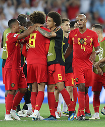 KALININGRAD, June 28, 2018  Players of Belgium celebrate victory after the 2018 FIFA World Cup Group G match between England and Belgium in Kaliningrad, Russia, June 28, 2018. Belgium won 1-0. England and Belgium advanced to the round of 16. (Credit Image: © Xu Zijian/Xinhua via ZUMA Wire)
