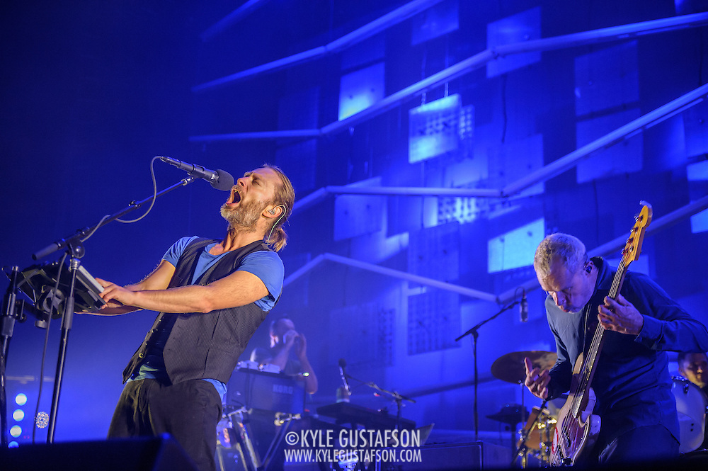 FAIRFAX, VA - September 30th, 2013 - Thom Yorke, Nigel Godrich, Flea and Joey Waronker of Atoms For Peace perform at the Patriot Center in Fairfax, VA. The band performed songs from the group's debut album, Amok, as well as songs from Yorke's solo debut and Radiohead b-sides. (Photo by Kyle Gustafson / For The Washington Post)