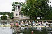 Henley. Great Britain.   Molesey Eights 40+ and 50+ 175th  Henley Royal Regatta, Henley Reach. England. 08:22:05  Sunday  06/07/2014. [Mandatory Credit; Intersport-images] <br /> <br /> Crews 40's Bow, Dan RITCHIE, James WRIGHT, Jonny SEARLE, Guy POOLEY, Alex Partridge, Mike BLOMQUIST, Simon FIELDHOUSE, Dave GILLARD, Neil CHUGANI,<br /> <br /> 50's Richard STANHOPE, Martin CROSS, Malcolm MCGOWAN, Joe MICHELS, Jean CHRISTOPHE-ROLLAND, Matt PINSENT, Ian MCNUFF, Diederik SIMON cox Gary HERBERT