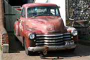 Old 1950s chevrolet car truck classic vehicle seen at Reedham, Norfolk, England