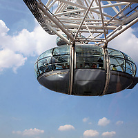 Europe, United Kingdom, England, London. The London Eye Ferris Wheel capsule.