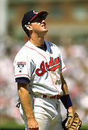 CLEVELAND - 1995:  Jim Thome of the Cleveland Indians looks on during an MLB game at Jacobs Field in Cleveland, Ohio during the 1995 season. (Photo by Ron Vesely) Subject:   Jim Thome