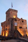 Italy, Genoa, Rapallo The castle at night