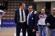 DESCRIZIONE : Beko Legabasket Serie A 2015- 2016 Dinamo Banco di Sardegna Sassari - Enel Brindisi<br /> GIOCATORE : Paolo Citrini - Daniele Michelutti<br /> CATEGORIA : Before Pregame<br /> EVENTO : Beko Legabasket Serie A 2015-2016<br /> GARA : Dinamo Banco di Sardegna Sassari - Enel Brindisi<br /> DATA : 18/10/2015<br /> SPORT : Pallacanestro <br /> AUTORE : Agenzia Ciamillo-Castoria/C.Atzori