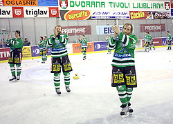 Pavlin, Zupancic and Vnuk after the sixth game of the Final of EBEL league (Erste Bank Eishockey Liga) between ZM Olimpija vs EC Red Bull Salzburg,  on March 25, 2008 in Arena Tivoli, Ljubljana, Slovenia. Red Bull Salzburg won the game 3:2 and series 4:2 and became the Champions of EBEL league 2007/2008.  (Photo by Vid Ponikvar / Sportal Images)..