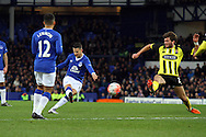 Kevin Mirallas of Everton tries a shot at goal. The Emirates FA cup, 3rd round match, Everton v Dagenham & Redbridge at Goodison Park in Liverpool on Saturday 9th January 2016.<br /> pic by Chris Stading, Andrew Orchard sports photography.
