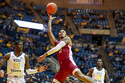 Nov 28, 2018; Morgantown, WV, USA; Rider Broncs guard Jordan Allen (2) shoots in the lane during the first half against the West Virginia Mountaineers at WVU Coliseum. Mandatory Credit: Ben Queen-USA TODAY Sports