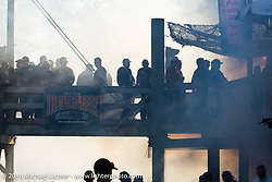 Burn out at the Iron Horse Saloon during the Daytona Bike Week 75th Anniversary event. FL, USA. Sunday March 6, 2016.  Photography ©2016 Michael Lichter.