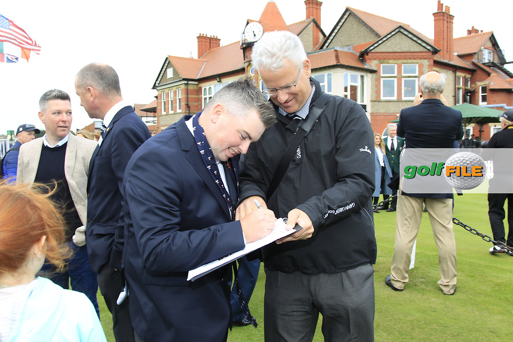 Caolan Rafferty (GB&I) signing his autograph during the Official Opening of the Walker Cup, Royal Liverpool Golf CLub, Hoylake, Cheshire, England. 06/09/2019.<br /> Picture Thos Caffrey / Golffile.ie<br /> <br /> All photo usage must carry mandatory copyright credit (© Golffile   Thos Caffrey)