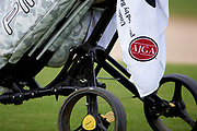 An AJGA golf towel hangs from a bag during the Under Armour® / Jordan Spieth Championship presented by American Campus Communities at Trinity Forest Golf Club in Dallas, Texas on August 15, 2017. CREDIT: Cooper Neill for The Wall Street Journal<br /> JRGOLF